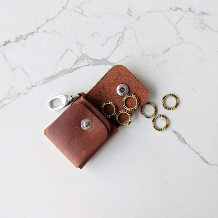 Thread & Maple Leather Stitch Markers Case Whiskey